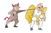 Tug-of-War Between a Devil and an Angel, illustration — Stock Vector
