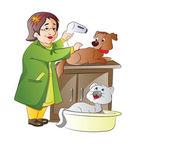 Veterinarian, illustration — Stock Vector