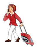 Vector of businesswoman talking on phone while pulling luggage. — Stock Vector