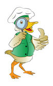 Duck Looking Through a Magnifying Glass, illustration — Stock Vector