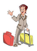 Vector of businessman with luggage waving goodbye. — Stock Vector