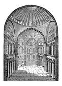 Interior view of Hagia Sophia in Istanbul, Turkey, vintage engra — Stock Vector