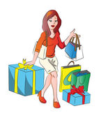 Vector of woman with giftbox and shopping bags. — Stock Vector