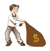 Boy Pulling a Sack of Money, illustration — Stock Vector