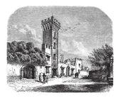 Tower at Panciatichi Palace, vintage engraving — Stock Vector