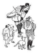 Os acrobatas - caricatura japonesa, gravura vintage — Vetor de Stock