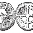 Stockvector : Ancient Celtic DrachmCoin, vintage engraving