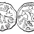 Ancient Celtic Coin, vintage engraving — Stockvectorbeeld
