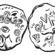 Stockvector : Ancient Celtic Coin of Tullum Leucorum, vintage engraving