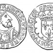 Coin Currency, Francis I of France, vintage engraving — Vektorgrafik