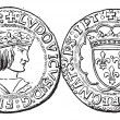 Stockvector : Coin Currency, Louis XII of France, vintage engraving