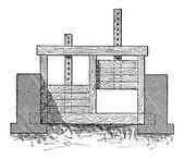 Wooden Gate Valve, vintage engraving — Stock Vector