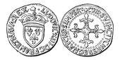 Pièce de monnaie, louis xiii de france, gravure vintage — Vecteur