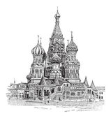 Saint Basil's Cathedral, in Moscow, Russia, vintage engraving — Stock Vector
