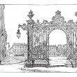 Place Stanislas, in Nancy, Lorraine, France, vintage engraving — Stock Vector