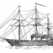 Постер, плакат: The Napoleon French Ship vintage engraving