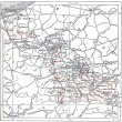 Topographical Map of Nord in Nord-Pas-de-Calais, France, vintage - Stock Photo