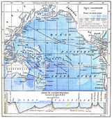 Map of the Pacific Ocean, vintage engraving — Stock Photo