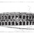 Arena of Nimes, in Nimes, Languedoc-Roussillon, France, vintage - Stock Vector