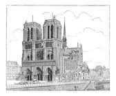 Notre Dame de Paris, in Paris, France, vintage engraving — Stock Vector