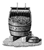 Acetification rápida de vinagre en un barril de schuzenbach, vintage — Vector de stock