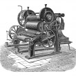 Stockvector : Paper Machine with Three Cylinders, vintage engraving