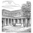 Stockvector : Courtyard of RomHouse, vintage engraving