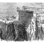 minería instalación sobre un acantilado, vintage grabado — Vector de stock