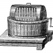 Butter Churn, vintage engraving — Stock Vector
