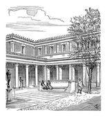 Cortile di una casa romana, incisione d'epoca — Vettoriale Stock