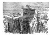 Gruvdrift installation på en klippa, vintage gravyr — Stockvektor
