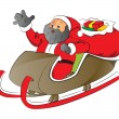 Vector of a santa with shocked expression in sledge. - Imagen vectorial
