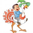Boy Riding a Turkey, illustration - Imagen vectorial