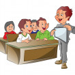 Boy Teaching Using a Tablet PC, illustration - Stock Vector