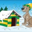 Dog in Winter, illustration - Stock vektor