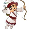 Vector of a man with bow and arrow. - Stock vektor