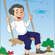 Boy on a Swing, illustration - Vettoriali Stock