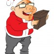 Vector of man wearing santa hat and holding a pouch. - Stock vektor