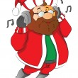 Stock Vector: Vector of man wearing santa hat listening to music on headphones