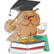 Smart Owl Graduate, illustration - Vettoriali Stock