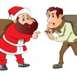 Vector of santa and burglar with sacks on their back. - Imagen vectorial