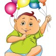 Boy Playing with Balloons, illustration - Vettoriali Stock