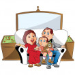 Vector of a family sitting on couch, watching television. - Imagen vectorial