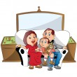 Vector of a family sitting on couch, watching television. - Vettoriali Stock