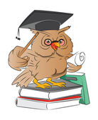 Smart Owl Graduate, illustration — Stock Vector