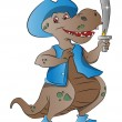Dinosaur Pirate, illustration - Stock vektor
