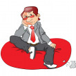 Vector of a thoughtful businessman sitting on bean bag. - Foto Stock