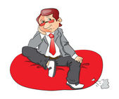 Vector of a thoughtful businessman sitting on bean bag. — Stock Photo