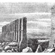 Carthage roman aqueduct ruins old engraving. — Stock Vector #6712153