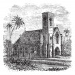 Saint Lucia Cathedral, in Colombo, Sri Lanka, vintage engraving — Stock Vector #6726794